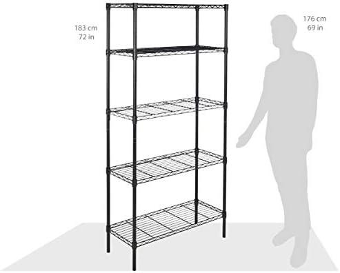 Amazon Basics 4-Shelf Adjustable, Heavy Duty Storage Shelving Unit (350 lbs loading capability in step with shelf), Steel Organizer Wire Rack, Black (36L x 14W x 54H)
