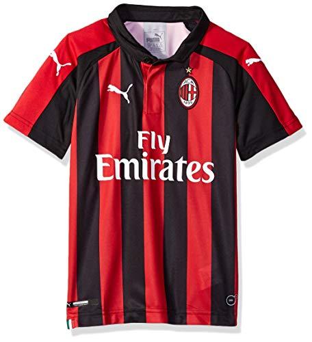PUMA Men's Standard AC Milan Home Shirt Replica SS Kids with Sponsor Logo, Tango red Black, L