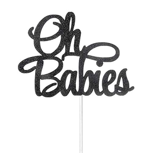 Black Glitter Oh Babies Cake Topper - Babies' First Birthday Party Decoration - Babies Shower Party Decorations Supplies - Twins' Birthday Party Decorations ()