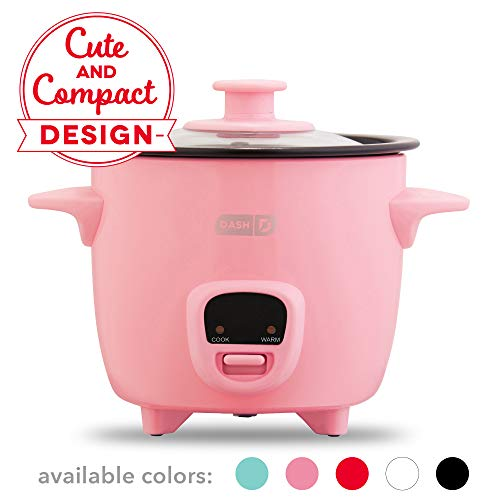 Dash DRCM200GBPK04 Mini Rice Cooker Steamer with Removable Nonstick Pot, Keep Warm Function & Recipe Guide 2 cups, for Soups, Stews, Grains & Oatmeal Pink ()