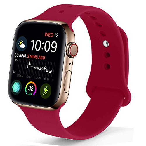 NUKELOLO Sport Band Compatible with Apple Watch 42MM 44MM, Soft Silicone Replacement Strap Compatible for Apple Watch Series 4/3/2/1 [M/L Size in Rose Red Color]