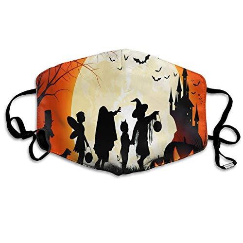 Unisex Mouth Mask Pumpkin Witch Halloween Flu Dust Masks Filters Half Face Earloop Masks Flu Germs Masks for Outdoor -
