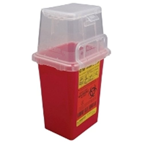 BD Nestable Sharps Container, 1.5 qt, Pre-Assembled, One-Way Funnel, Latex-Free