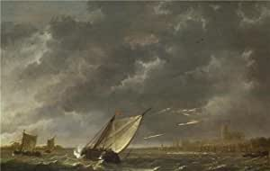 The high quality polyster Canvas of oil painting 'Aelbert Cuyp - The Maas at Dordrecht in a Storm,about 1645-50' ,size: 12x19 inch / 30x48 cm ,this High quality Art Decorative Prints on Canvas is fit for Powder Room artwork and Home artwork and Gifts