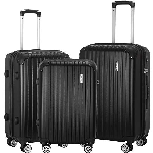 (Luggage Set 3 Piece ABS Trolley Suitcase Spinner Hardshell Lightweight Suitcases TSA)