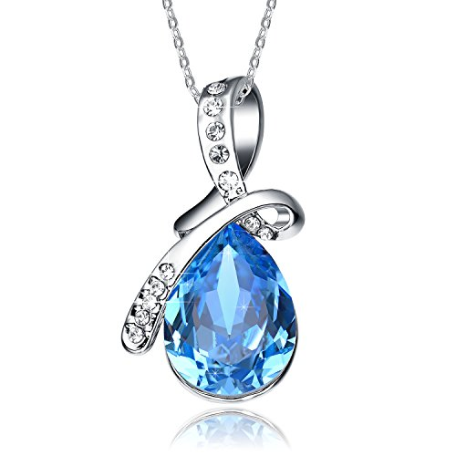 Valentines Day Gifts NEEMODA Sapphire Blue Crystal Pendant Necklace White Gold Plated Womens Fashion Jewelry Gifts for Her