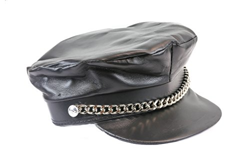 [Bikers Police Cop Hat With Diamond Cut Chain Goth Fetish Party Sexy] (Cop Hat)