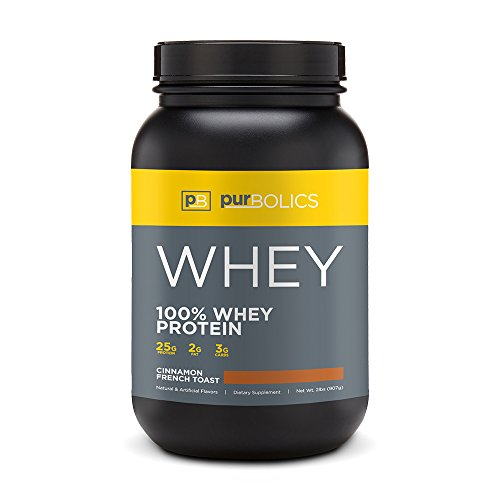 Purbolics Protein | 100% Whey Protein | Build Lean Muscle & Improve Recovery | 25g Protein | 28 Servings (Cinnamon French Toast)