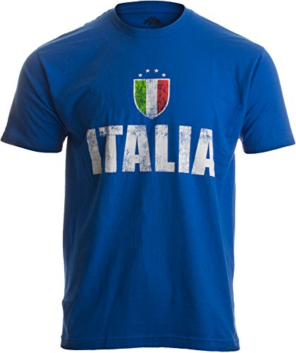 ITALIA | Italy Azzurri Futbol (Italian National Soccer) Vintage-Look T-shirt-Blue-Medium