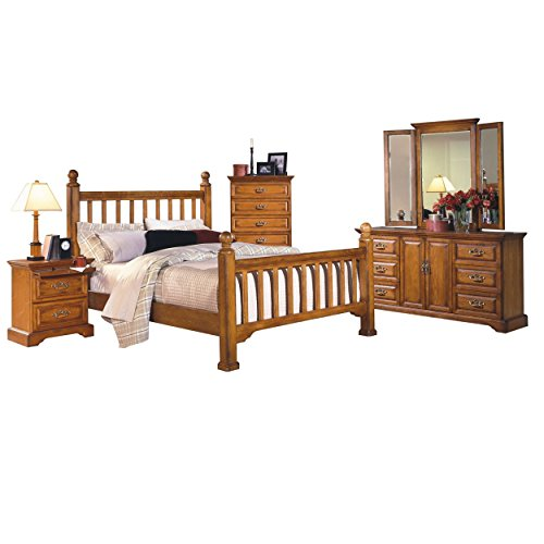 Haverhill 6 Piece Country Mission Queen Bed, 2 Nightstand, Dresser & Mirror, Chest in Honey Oak Wood - Honey Oak Dresser