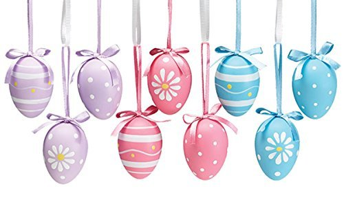 Floral Decorated Hand Painted Easter Egg Home Decor Ornament, 9 Pack