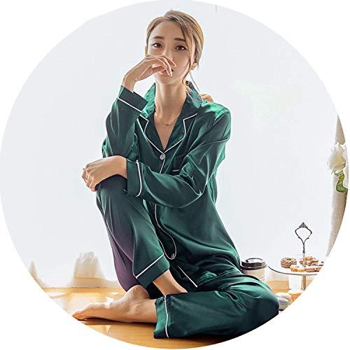 Women Pajama Silk Sets Autumn Silk Pajamas Long Sleeve Sleepwear Women's Nightwear,Green,XL