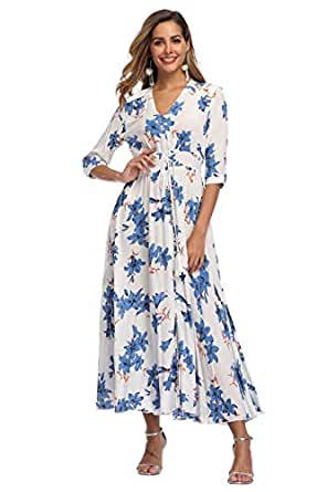 VintageClothing Women's Floral Maxi Dresses with Sleeves Flowy Boho Beach Party Dress Casual Summer Dress, S