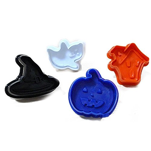 PIAGO 1 Pcs Cake Decorating Halloween Pumpkin House Ghost Hat Plunger And Cookie Cutter]()