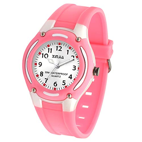 Kids Watch,Child Analog Outdoor Sport Quartz Wristwatch with for Boys Girls Kids Waterproof Watches,Time Teach Watches Color Dial Easy to Read Time for Kids As Gift (Pink)