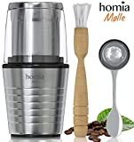 Coffee and Spice Grinder Set - Electric Mill with Two Grinding Cups for Dry and Wet Ingredients (Salt