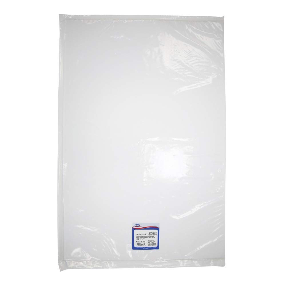 Alvin 100% Rag Vellum Tracing Paper 100-Sheet Pack 24'' x 36'' (6855-S-10) by Alvin