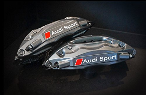 Audi brake caliper decal Audi Sport 4pcs. set 80mm + 70mm (white - red)