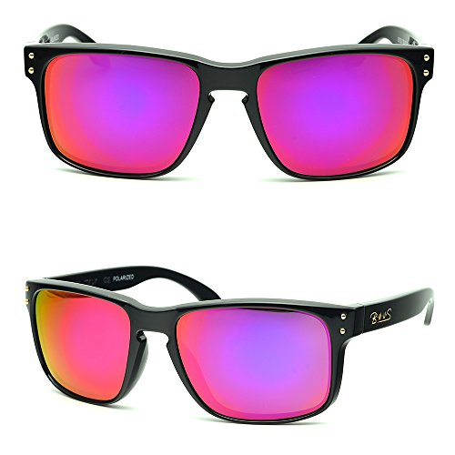 B.N.U.S Fashion Sunglasses Square Black Magenta Mirror Polarized Lenses for Women (Frame: Black, Polarized Magenta - Sunglasses C.s.