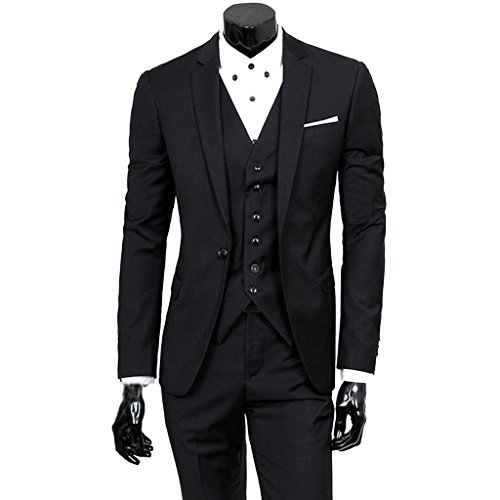 Fashion Suit Trousers - Stunner Men's Fashion Fit Suit Blazer Trousers 2 Piece Set Wedding Dress CN Black XXL