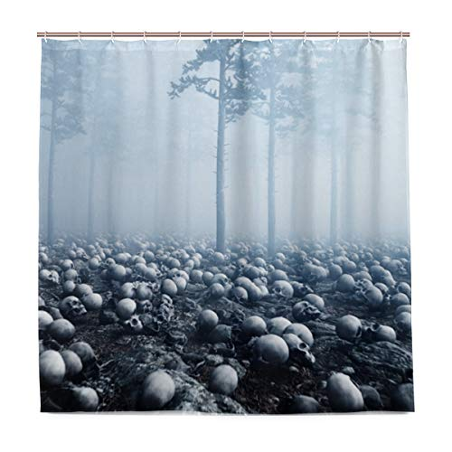 ZOMOY Decoration Shower Curtain Shower Scary Old Skulls Fog Night Forest Bath Curtains Waterproof Fabric Bathroom Decor Set with Hooks 47X64inch