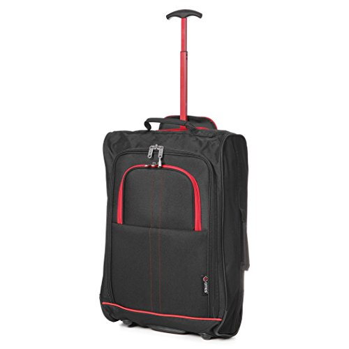 "21""/55cm 5 Cities Black Carry On Lightweight Cabin Approved Trolley Bag Hand Luggage (BLACK/ RED) (Black/Red)"