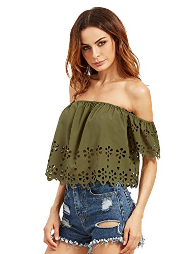 Milumia Women's Off The Shoulder Hollow Crop Tank Top Army Green XS
