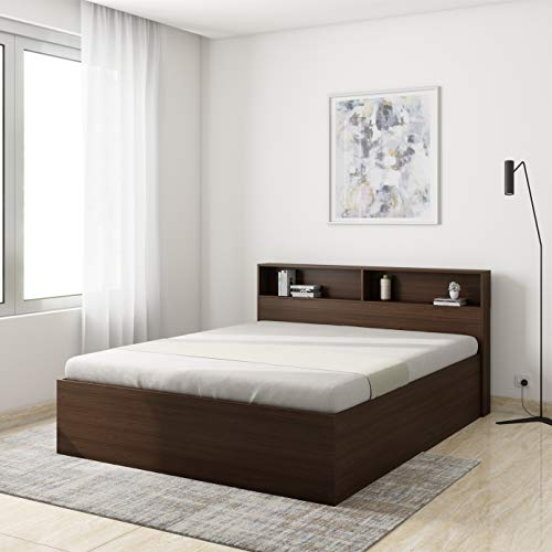 Amazon Brand   Solimo Neptune Engineered Wood Queen Bed with Storage  Walnut Finish