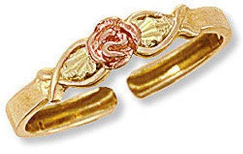 - Landstroms Ladies 10k Black Hills Gold Rose Toe Ring with Leaves - G L02930