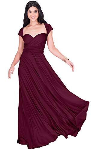 KOH KOH Petite Womens Long Bridesmaid Multi-Way Wedding Convertible Wrap Infinity Cocktail Sexy Summer Party Formal Prom Transformer Gown Gowns Maxi Dress Dresses, Maroon Wine Red S 4-6