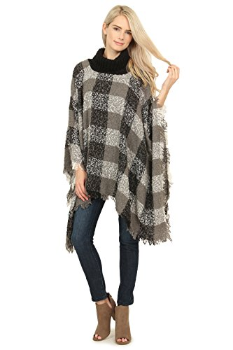 MYS Collection Riah Fashion Women's Turtle Neck Plaid Sweater Poncho (Gray)