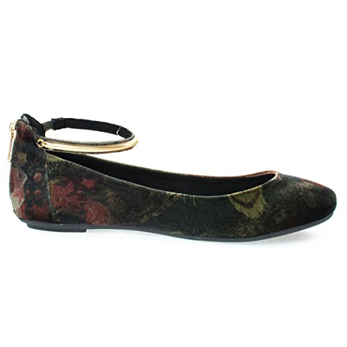Round Toe Dress Flat w Oriental/Russian Inspired Print, Metal Ankle Strap. Women's Flat Shoes Blackmulti