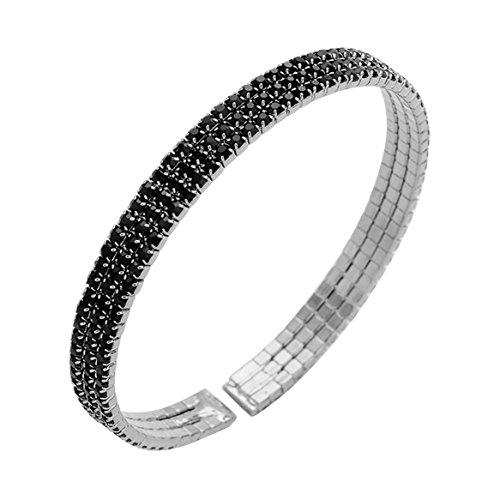 Rosemarie Collections Women's 3-Row Crystal Rhinestone Cuff Bangle Bracelet (Black) ()