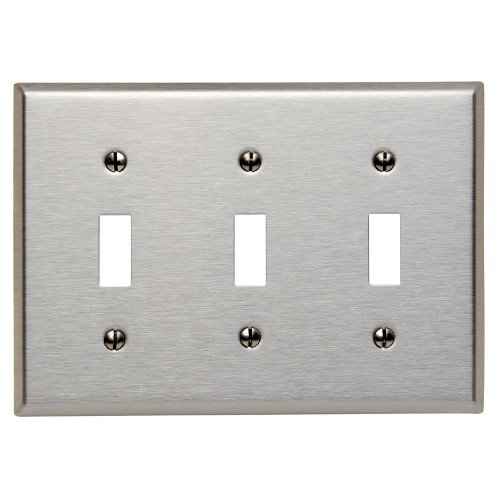 Leviton 84011 003-000 3-Toggle Standard Size Wall Plate, 3 Gang, 4.5 in L X 6.37 in W 0.187 in T, Satin, 1 pack, Stainless Steel