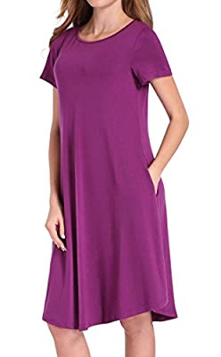Hibluco Women's Casual Short Sleeve Loose Tunics A-line T-shirt Dress with Pockets