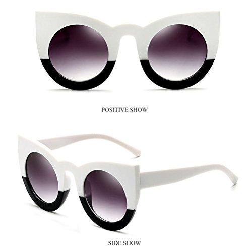 Grande Marco Ojo Personalidad White Sol Protección de amp;black para Mujeres Gafas Ojos Gafas de De los Womens Amiga Zhhlaixing Guay Sunglasses las InCwqO80