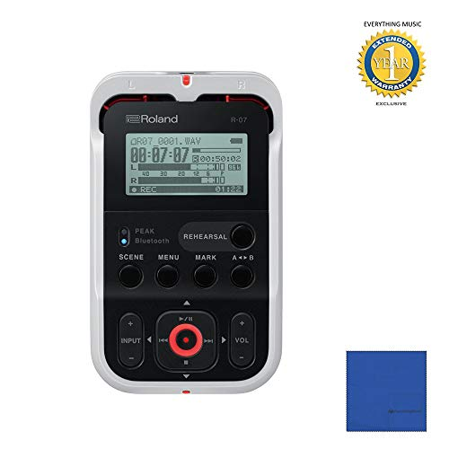 - Roland R-07 High-Resolution Handheld Audio Recorder White (R-07-WH) with Microfiber and 1 Year Everything Music Extended Warranty