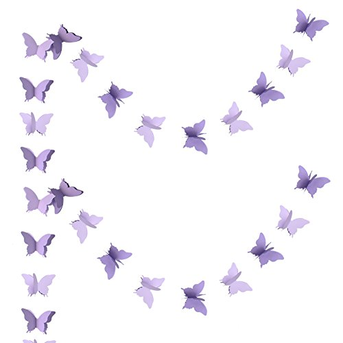Zilue Butterfly Banner Decorative Paper Garland Wedding, Baby Shower, Birthday & Theme Decor 110 Inches Long Set of 2 Pieces Lightpurple