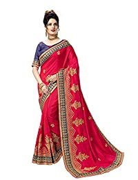Nivah Fashion Silk Embroidery Saree with Blouse Piece K824