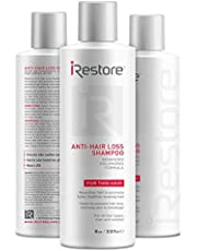 iRestore Anti-Hair Loss Shampoo with Amino Acids, Aloe Vera, and Other Essential Nutrients – For Balding & Thinning Hair – For Men and Women (8oz / 237ml) - 3 Pack