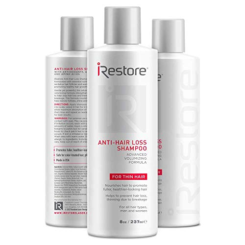 iRestore Hair Growth Shampoo with Amino Acids, Aloe Vera, Green Tea Extract, and Other Essential Nutrients – For Balding & Thinning Hair – For Men and Women (8oz/237ml) - 3 Pack