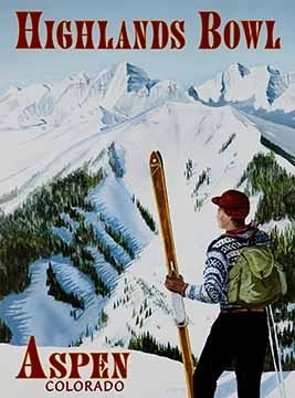 Aspen Ski Posters - Aspen Highlands Bowl Vintage Colorado Ski Poster, 18 x 24 inches