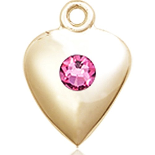 14kt Yellow Gold Heart Medal with 3mm October Rose Swarovski Crystal 1 1/4 x 1 5/8 inches by Unknown