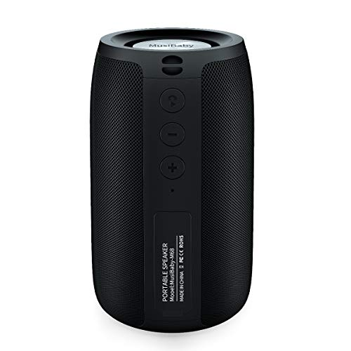 Bluetooth Speakers,MusiBaby Speaker,Outdoor, Portable,Waterproof,Wireless Speakers,Dual Pairing, Bluetooth 5.0,Loud Stereo,Booming Bass,1500 Mins Playtime for Home,Party,Camping(Black)