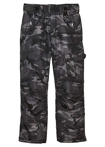 - Arctic Quest Boys & Girls Water Resistant Insulated Ski Snow Pants, Black & Grey Camo, 14/16