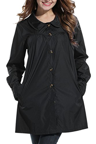 Bifast Women's Waterproof Front-Button Lightweight Hoodie Hiking Outdoor Raincoat Jacket With Pocket S-XXL