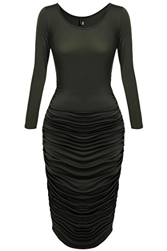 Zeagoo-Womens-Sexy-Stretchy-Ruched-Bodycon-Midi-Party-Cocktail-Dress