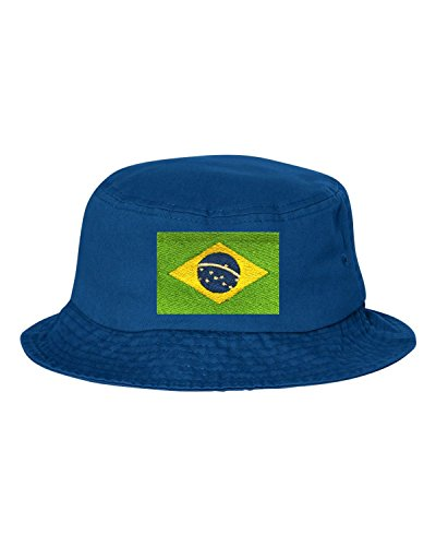 Go All Out One Size Royal Blue Adult Brazil Flag Embroidered Bucket Cap Dad Hat