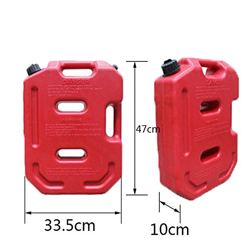 YOUNGFLY 10L Fuel Tank Cans Spare 2.5 Gallon Portable Fuel Oil Petrol Diesel Storage Gas Tank Emergency Backup for SUV ATV UTV Car Air Diesel (red,10L) by YOUNGFLY (Image #2)