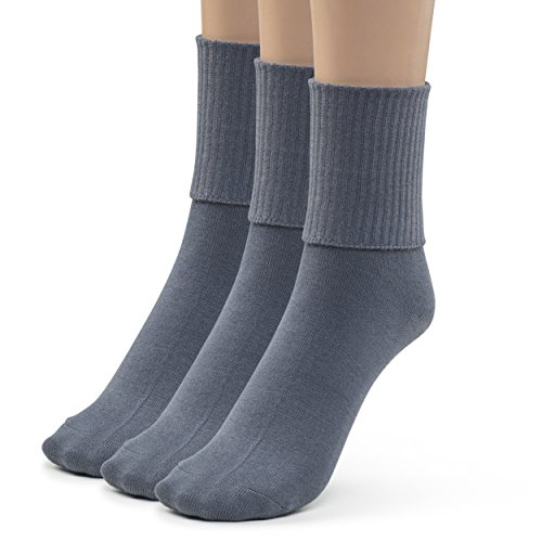- Silky Toes 3 Pk Women's Turn Cuff Bamboo Casual Socks, Triple Roll Dress Crew Socks (8-9, Heather Grey -3 Pairs)